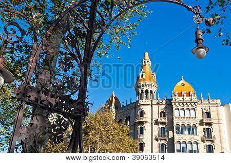 Famous Modernist Streetlamp In Barcelona, Catalonia