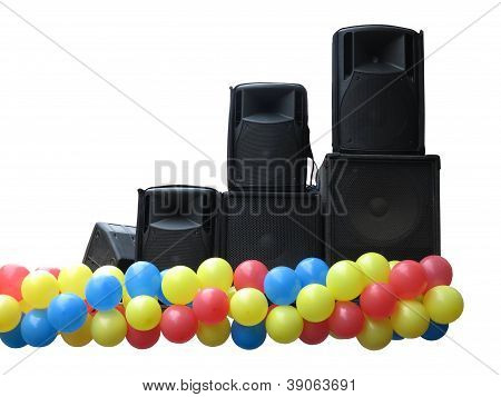 Powerful Concerto Audio Speakers And Balloons On Stage Isolated