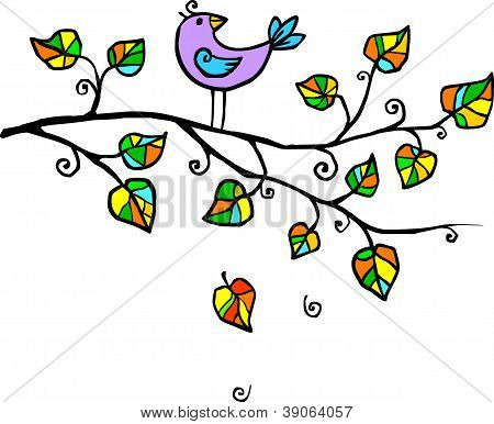 Violet hand-drawn bird on the tree