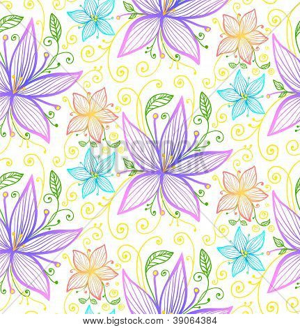 Blue and violet flowers seamless vector pattern