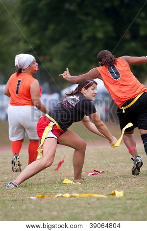 Woman Flag Football Player Practices Technique