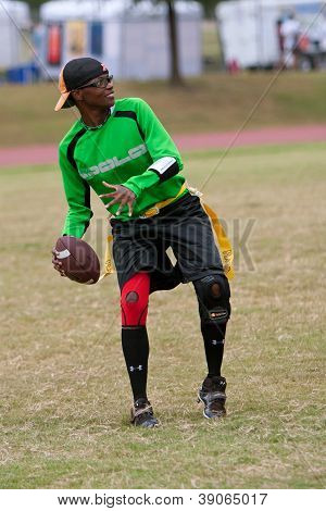 Woman Plays Quarterback On Flag Football Team