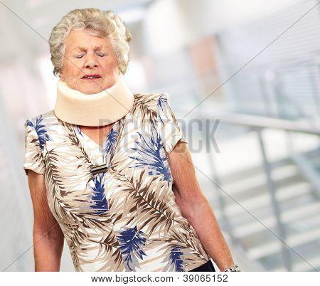 A Senior Woman Wearing A Neck brace, Outdoor