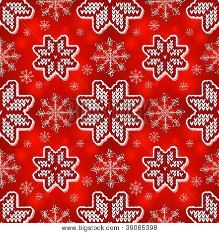 Christmas red embroidery seamless pattern