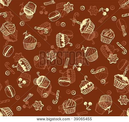 Christmas honey-cakes seamless background
