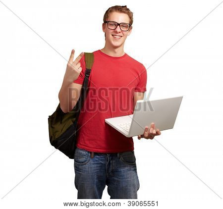man holding laptop and backpack isolated on white background
