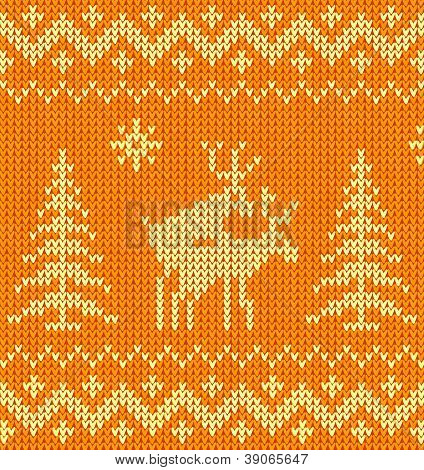 Joking orange knitted ornament with deers