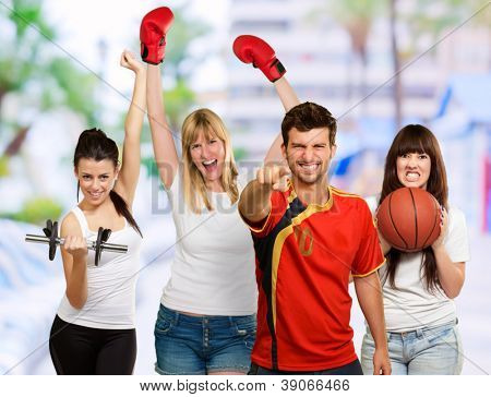 Group Of Sporty People, Outdoor