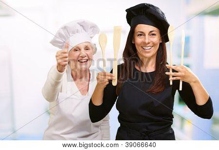 Happy Female Chef, Indoor