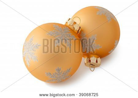 Two Yellow Christmas Decorations