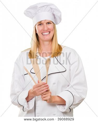 Female Chef Holding Wooden Spoon On White Background