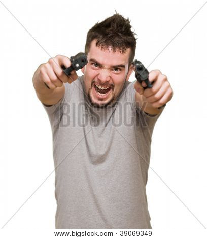 angry man aiming with guns against a white background