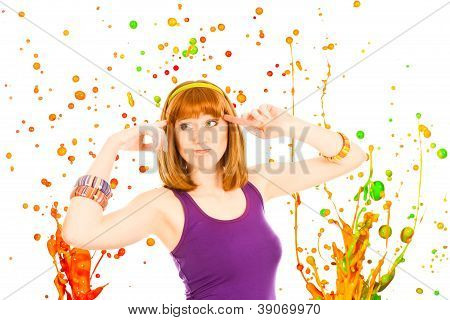 Red haired woman with colorful splashes