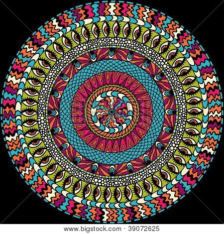 Colorful ethnicity round ornament, mosaic vector background.