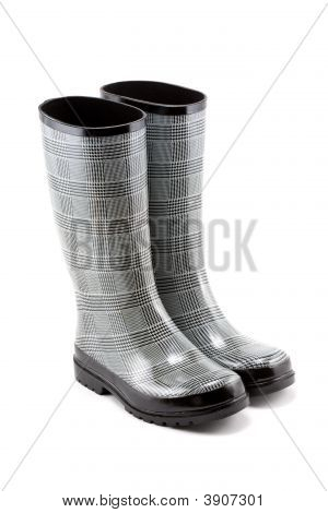 Black And White Herringbone Rain Boots