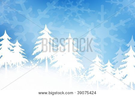 Winter/holiday background with snow, trees and snowflakes pattern.