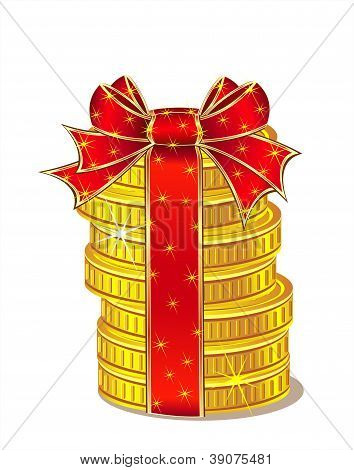Stack of gold coins with ribbon and bow