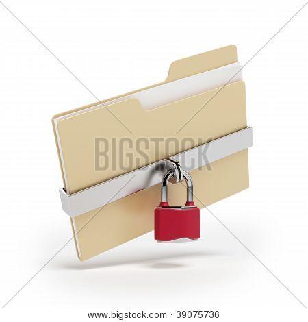 Archivos confidenciales. Candado en carpeta