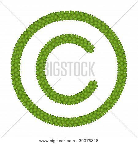 A Four Leaf Clover Of Copyright Sign