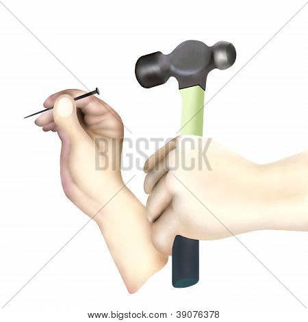 Hand Holding Hammer Hitting Nail On White Background