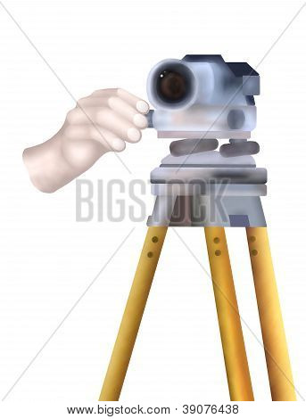 A Dumpy Level On A Tripod With Worker Behind