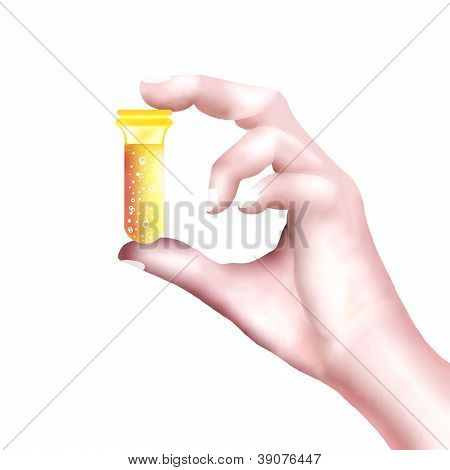 Hand Holding A Bottle Of Prescription Medicine.