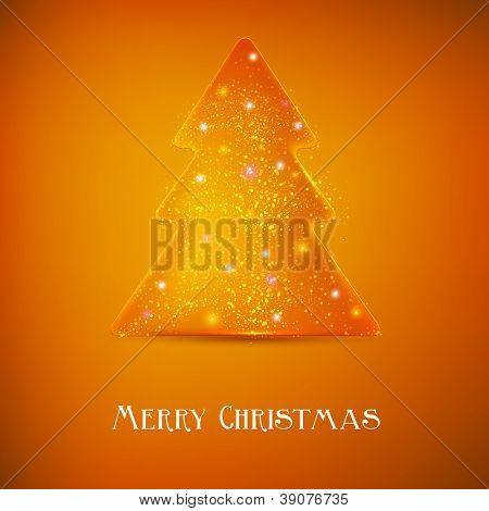 Stylized luminous christmas tree. Vector background with copy space
