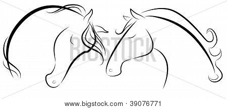 Horse heads stylized