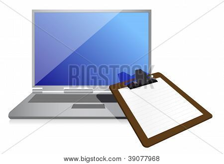 Clipboard And Laptop