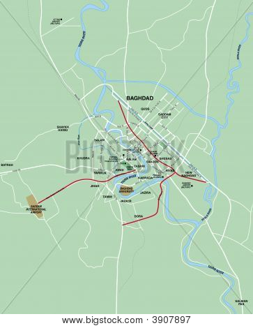 Bagdad, Irak metropolitan Area Karte