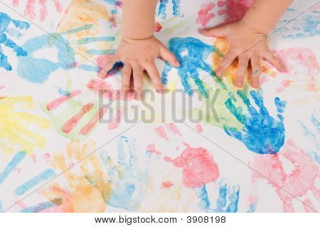 Child Hands Colorful Painting