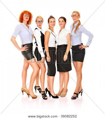 A picture of a team of five confident businesswomen standing over white background