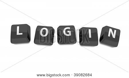 Login Written In White On Black Computer Keys. 3D Illustration. Isolated Background.