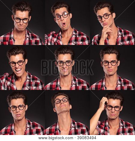 young man face expressions composite isolated on black studio background