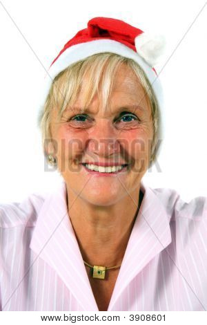 Woman With Santa\'S Hat