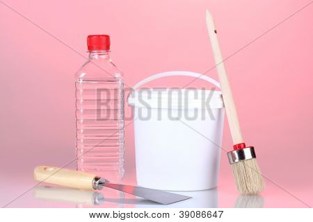 Materials for repair on red background