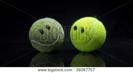 Old And New Tennis Balls