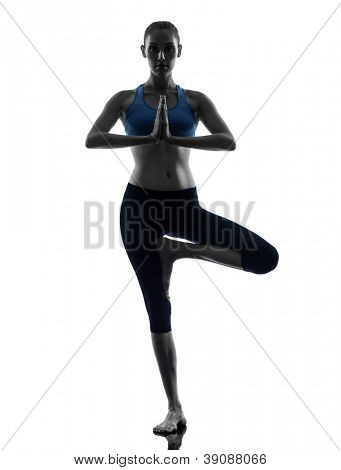 one caucasian woman exercising yoga tree pose in silhouette studio isolated on white background