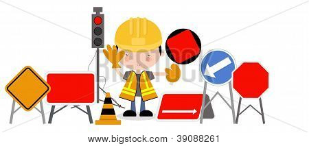 Man and Roadworks Signs