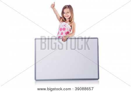 Cute little girl isolated on the white