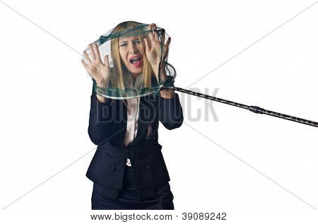 Woman with net isolated on white