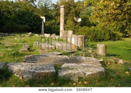 Archaeological Site At Limenas Thasos Island Greece