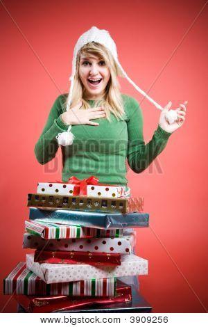 Caucasian Girl Receiving Gifts