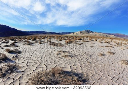 Cold morning in desert. The fissured clay - takyr - surrounds a huge sandy dune Eureka.
