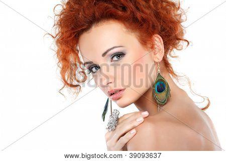 Red hair. Fashion girl portrait.Accessory.