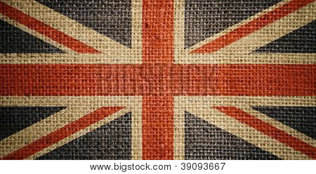 British flag on burlap or sacking or sackcloth texture