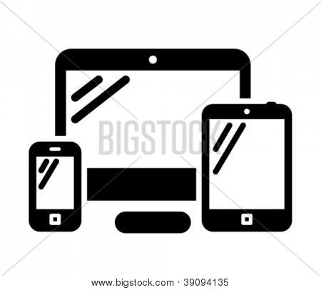 Telefone móvel, computador e tablet PC preto vector icon
