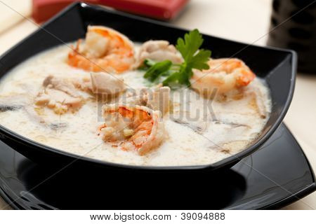 Tom Yum soup with shrimp in coconut milk