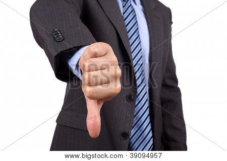 Business failure, businessman gesturing a thumbs down in displeasure
