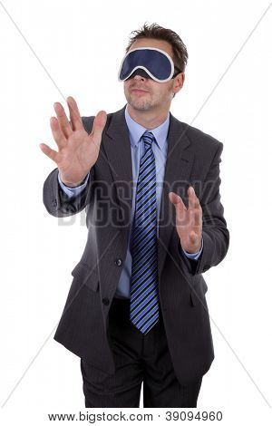 Businessman wearing blindfold concept for lost, searching, confusion and challenge